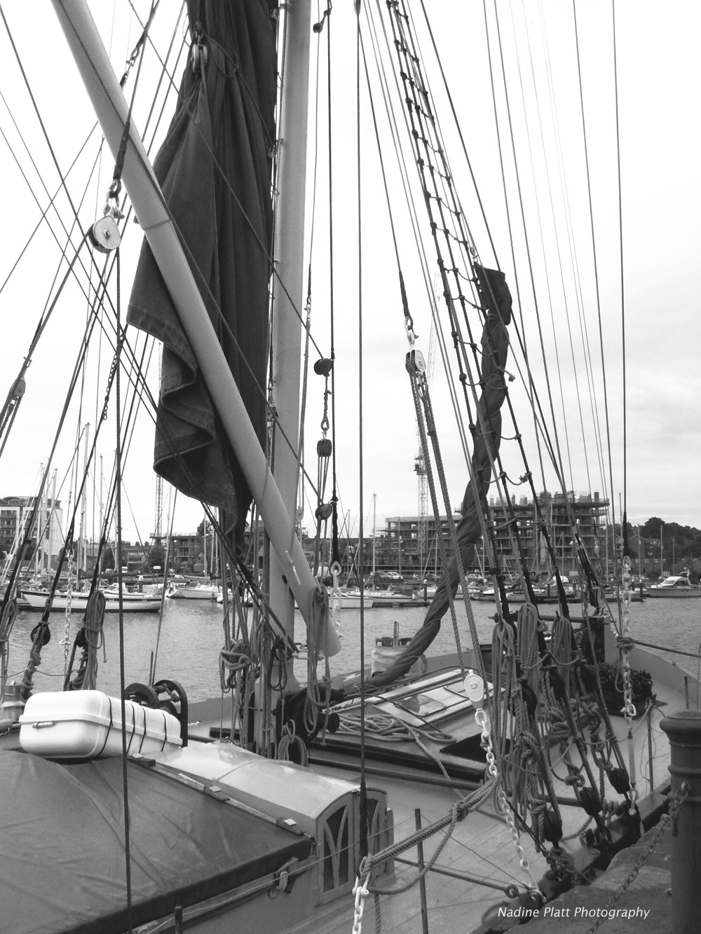 Ipswich Harbour Barge Black and White