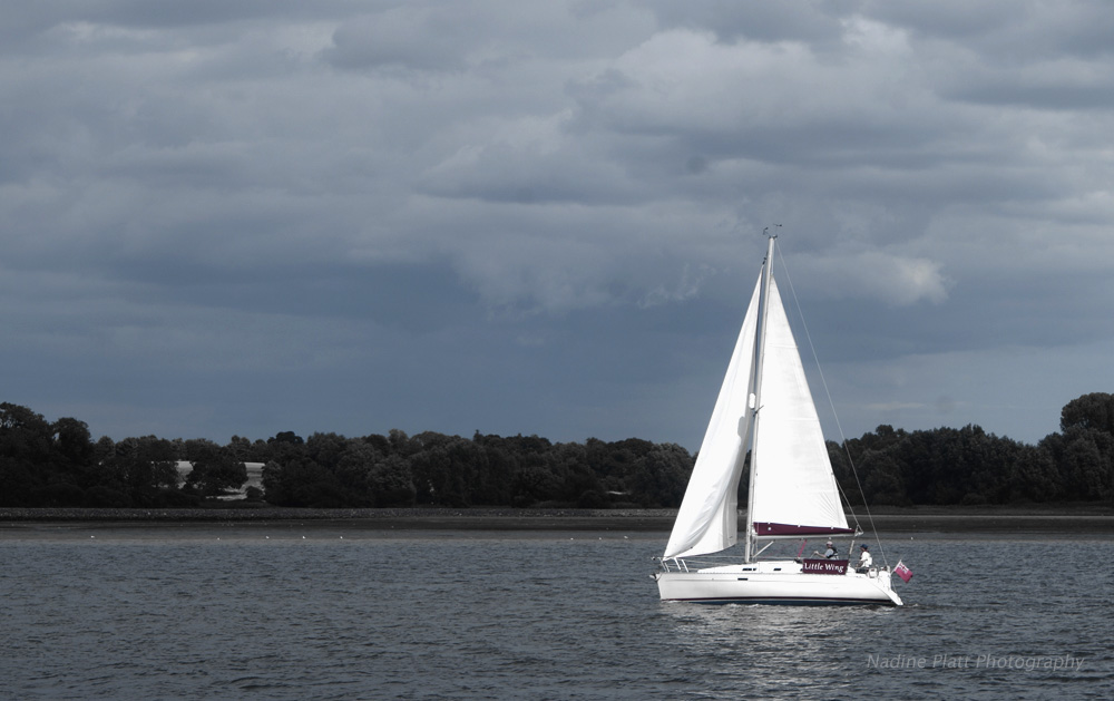 Photograph of a Yacht with White Sails