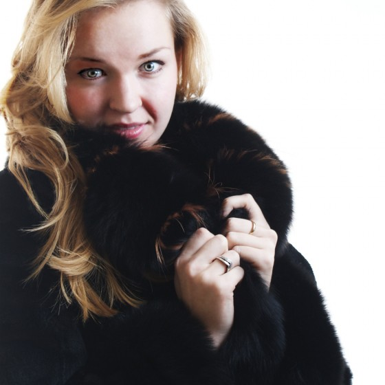 Photograph of a Young woman in a Fur coat