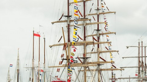 Tall Ship with Flags