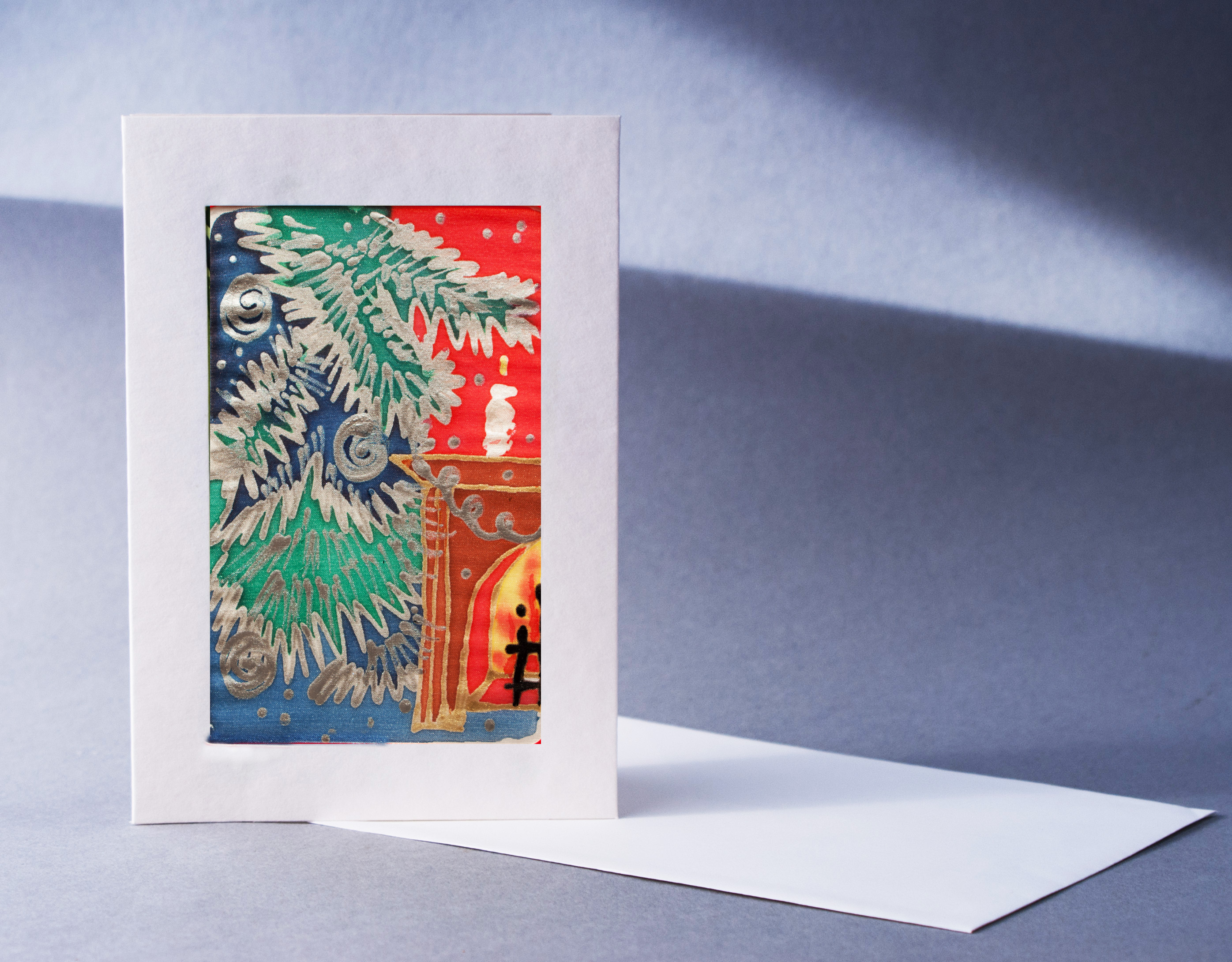 Product categories exclusive greeting cards christmas greeting card by the fireplace design by nadine platt m4hsunfo