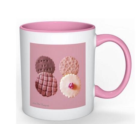 Exclusive Pink Mug with Biscuits Design