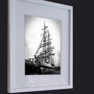 "Framed Print ""Tall Ship at the Pier"" B-W"